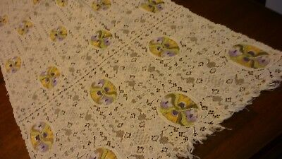 """Antique French Alencon Lace Runner With Petit Point Embroidery 13"""" by 42'"""