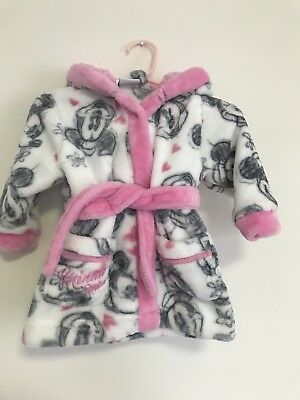 Baby Girl Minnie Mouse Hooded Dressing Gown 3-6 Months