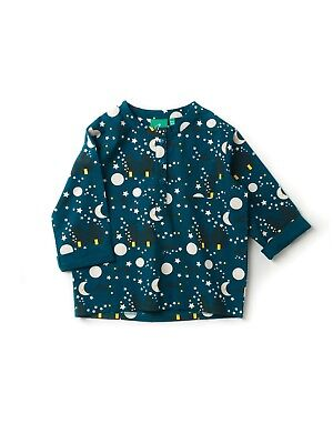 Little Green Radicals Organic Poplin Tunic Top  Stars Moon deep blue 5 6 7 8