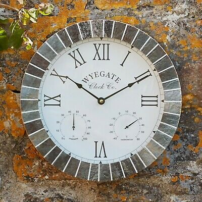 Wall Clock Outdoor Garden Thermometer Hygrometer 3 in 1 Roman Numeral Slate NEW