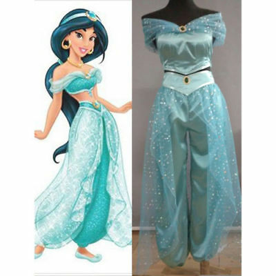 Dress Pant  Adult Aladdin Lamp Jasmine Princess Costume Party Cosplay. Dress