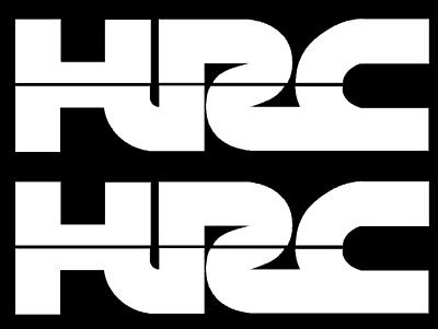 Hrc Honda Racing Vinyl Decals In White - Two Hrc Decals Stickers X2 Honda Racing