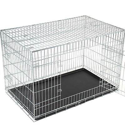 Dog Cage Cat Pet Transport Cage Crate Carrier Metal Size Choice S - XXL