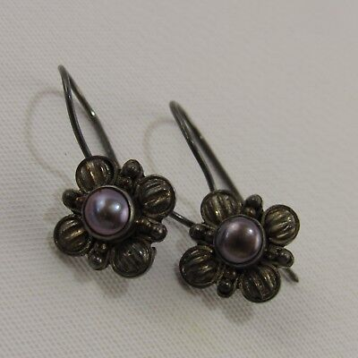 Vintage Pair Sterling Silver Earrings Marked 925 Jewelry Estate Find Floral