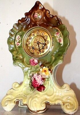"""Antique Huge French """"louis Xv"""" Style, Hand Painted Boulle Porcelain Mantel Clock"""