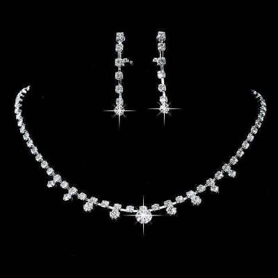 Elliptical Crystal Choker Necklace and Earring Set