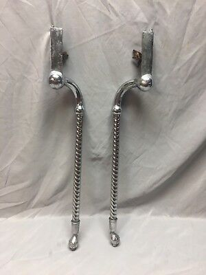 Pair Antique Nickel Brass Bathroom Sink Legs Old Marble Vtg Console 88-18J