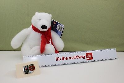 """07 Plush Coca-Cola Polar Bear ~""""it's the real thing"""" ruler~1996 Olympic Pin-back"""