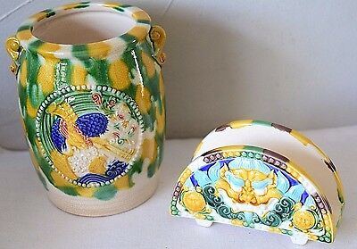 Set of 2 Oriental Pattern Ceramic Holders