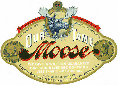 Duluth Brew Our Tame Moose Beer Label T Shirt Duluth Mn Sizes Small-Xxxlarge (F)