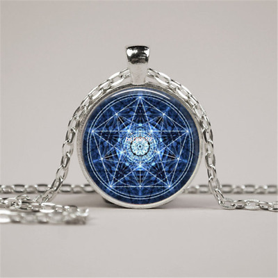 Water Pentagram Wicca Silver Pendant Necklace Wiccan Jewelry Charm