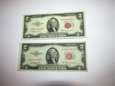 $2 U.S. Red Seal 1953 B / 1953 A   Both in XF Condition   ...........Aug 18 -  5