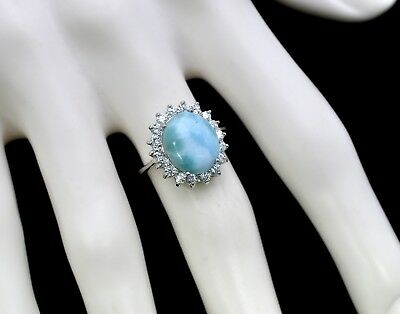 Larimar 12X10 Oval Natural Classic Ring .925 Sterling Silver. Sizes 8