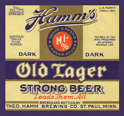 Theo Hamm Brewing Lager Beer Label T Shirt St Paul Mn Small-Xxxlarge (F)