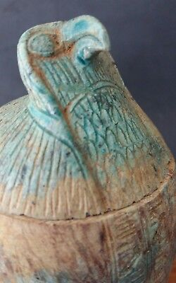 Unusual Egyptian Canopic Jar Hard Stone Carving Qebehsenuef