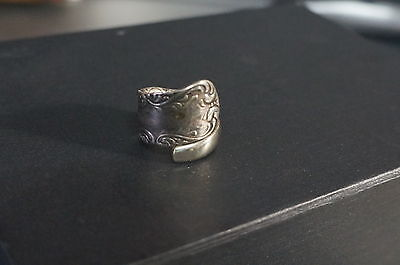Vintage Silver Wrap Spoon Ring Ornate Beautiful Size 7