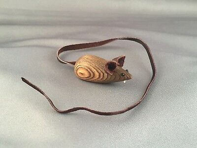 Vtg MCM Japan Carved Cryptomeria Wood MOUSE FIGURINE Teeth & Leather Ears/Tail
