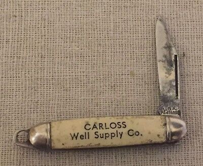Vintage Mini Micro Advertising Pocket Knife Carloss Well Supply Co. Memphis TN