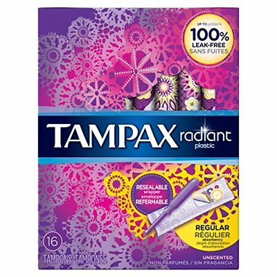 Tampax Radiant Tampons with Plastic Applicators Regular Absorbency Unscented 16