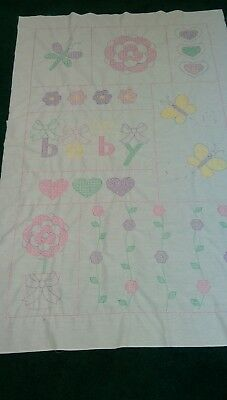 Hand embroidered baby quilt top