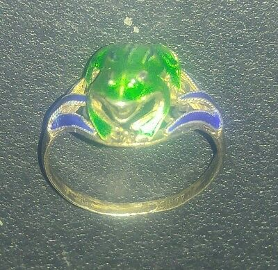 Antique Chinese Silver And Multi Color Enamel Frog Ring