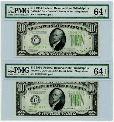 Fr. 2005-C $10 1934C Federal Reserve Note 2 Consecutive #20905999-6000 64EPQ PMG