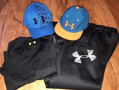 Boys Under Armour Lot Sweatpants Shirt Hats Youth Size Medium ~ Nice!