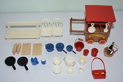 Sylvanian calico critters cart and misc. accessories