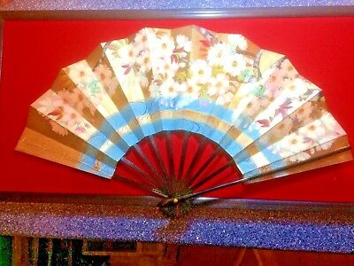 Japanese Hand Painted Double Sided Paper Fan Complete With Original Box & Hanger