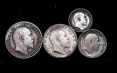 Great Britain - Moundy set 1902, aUnc, Edward VII, silver