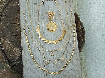JOB LOT OF VINTAGE GOLD TONE DRESS NECKLACES Cleopatra collar, coin etc