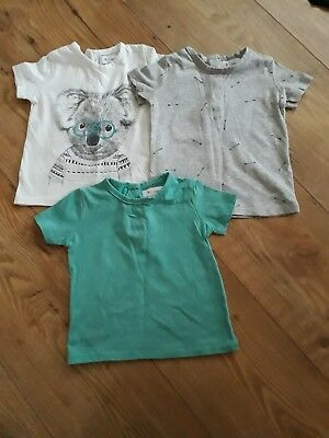 3 pack of baby boy cotton t shirts size 9 months