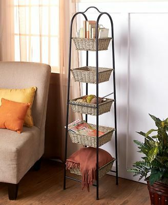 The Lakeside Collection 5-Tier Seagrass Basket Tower - Tower