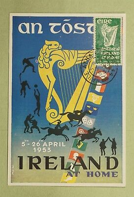 "1953 Ireland Maximum Card Irish Harp At Home ""an Tostal"""