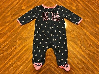 Carters baby girls 3M 3 months footed sleeper little sister floral 100% cotton