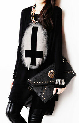 Gothic Punk Women Pullover Long Sleeve Black Cross Print Tops Loose Shirt Blouse