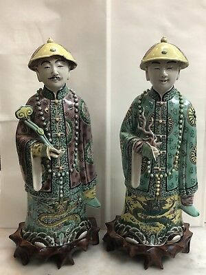 Pair Of Fine Chinese Majolica Figurines W/ Stands