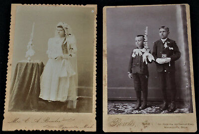 Vintage Pair of 1800's Cabinet Photos First Communicants /Wyandotte, Mich