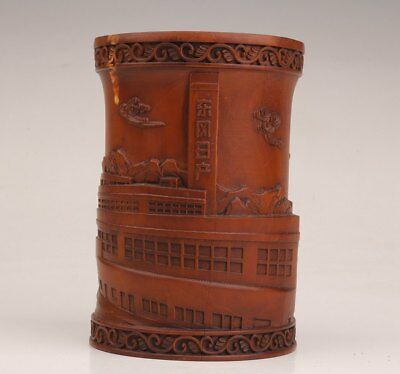 Chinese Boxwood Hand-Carved Famous Enterprises Commemorate Penholder Old