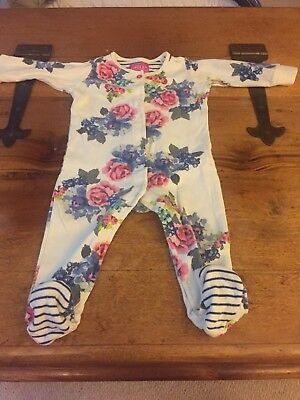Joules Girls Floral Sleepsuit - 6-9 Months - Baby