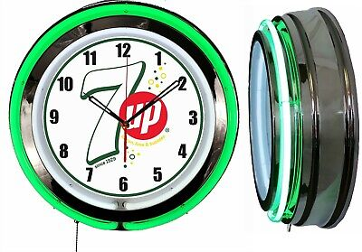 """7 UP with Bubbles white sign 19"""" Double Neon Green Neon Clock  Mancave Bar"""