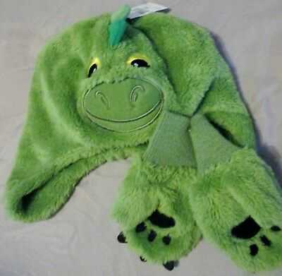 NWT Boys toddlers Soft fuzzy Green Dinosaur hat w/ mittens embroidered details