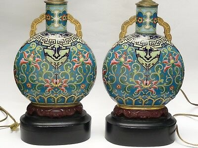 PAIR 19c CHINESE QING IMPERIAL ARCHAISTIC KUI DRAGON ENAMEL VASE CONVERTED LAMP
