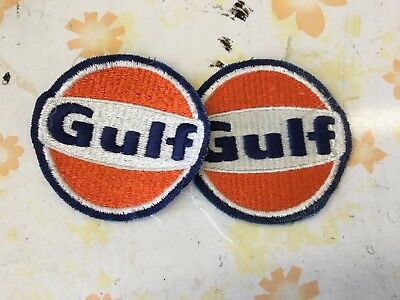 vintage lot of 2 original GULF Service Station patches Gas and Oil advertising