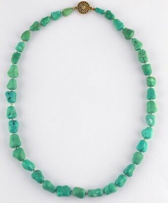 Old Chinese Silver Carved Blue Green Knucklebone Nugget Turquoise Bead Necklace