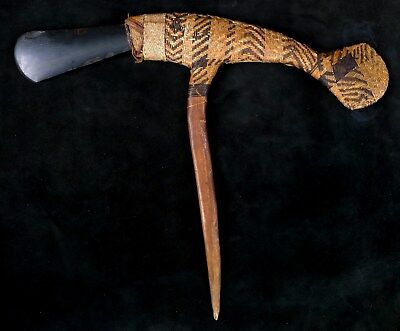 Old Large Papua New Guinea Eastern Highlands Ceremonial Adze Axe Museum Piece