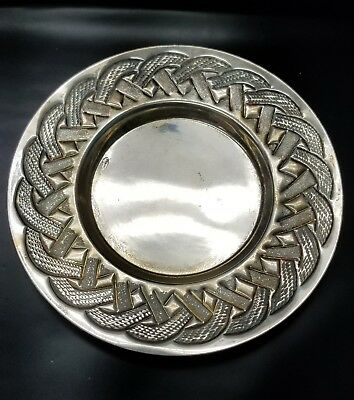 Antique 925 Sterling Silver Ornate Repousse Etched Tray Plate 94.0g {ML3343}