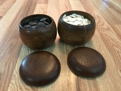 Antique Goishi Japanese Go Board Game Tiles Shell and Ebony With Wood Containers