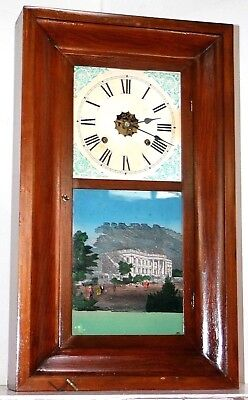 Antique 1870's Federal Mahogany Time & Strike Weight Driven Waterbury Ogee Clock