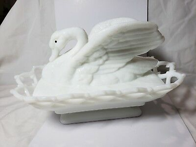 Milk glass white raised winged swan covered candy dish